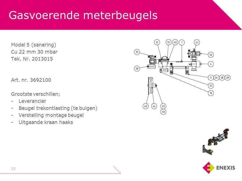 Gasvoerende meterbeugels 13 Model 5 (sanering) Cu 22 mm 30 mbar Tek.