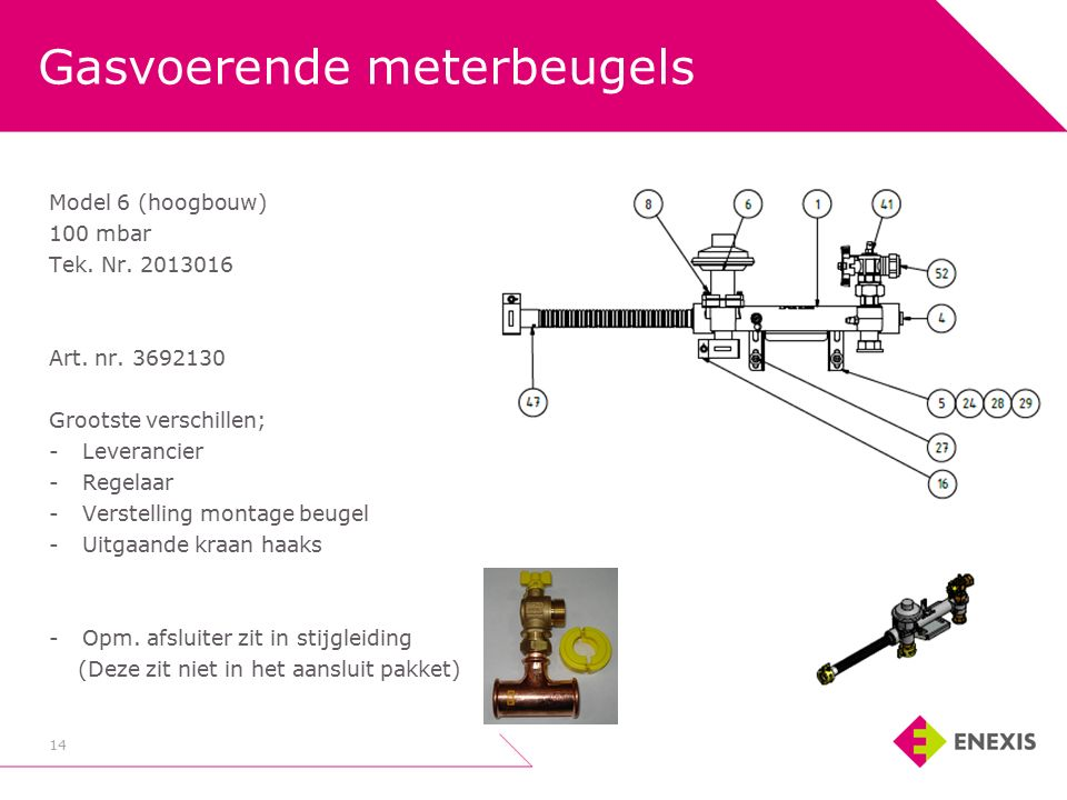 Gasvoerende meterbeugels 14 Model 6 (hoogbouw) 100 mbar Tek.