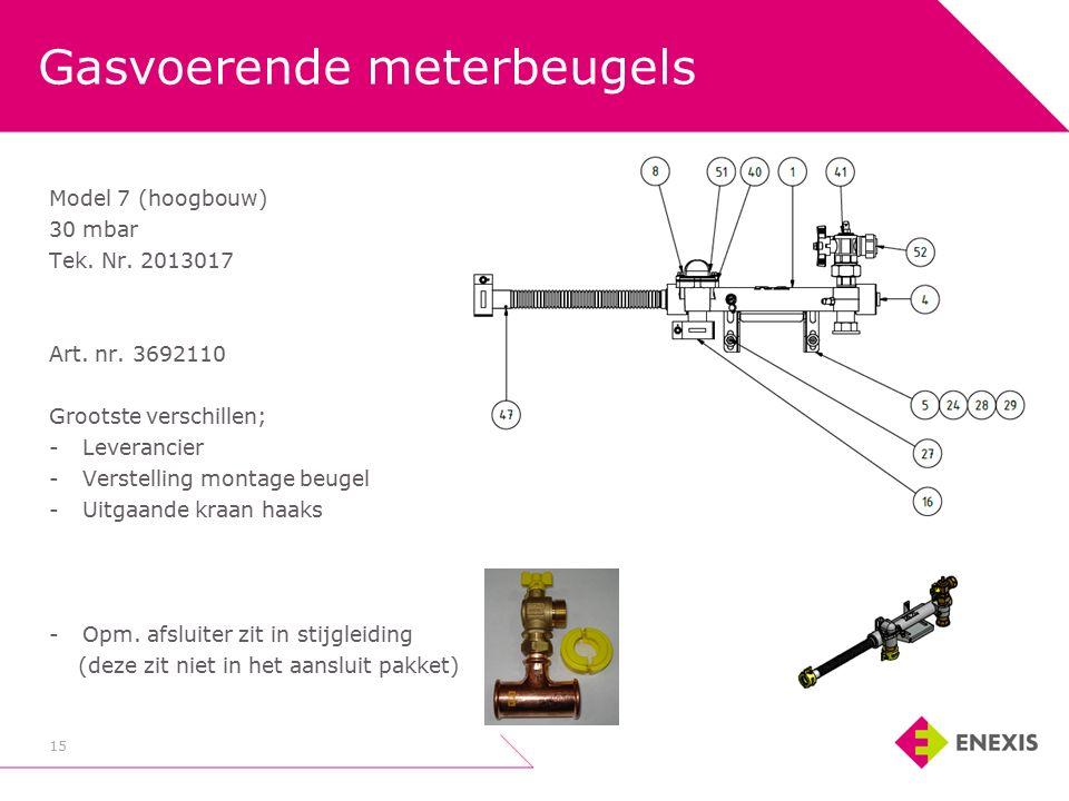Gasvoerende meterbeugels 15 Model 7 (hoogbouw) 30 mbar Tek.