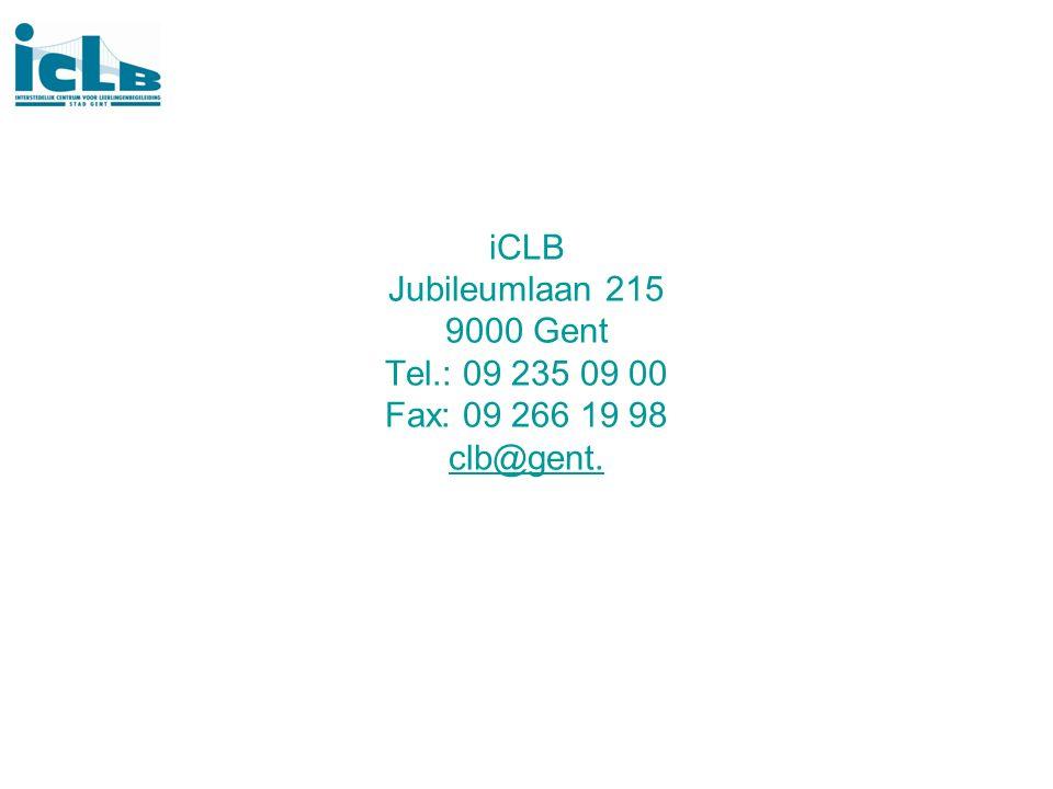 iCLB Jubileumlaan 215 9000 Gent Tel.: 09 235 09 00 Fax: 09 266 19 98 clb@gent. clb@gent.