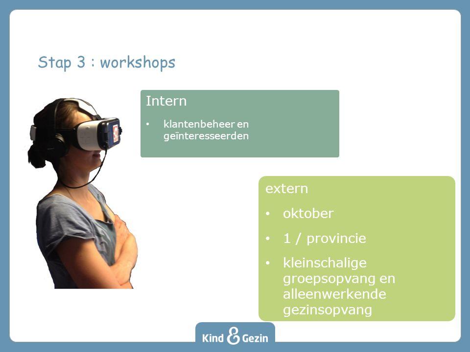 Intern klantenbeheer en geïnteresseerden Stap 3 : workshops extern oktober 1 / provincie kleinschalige groepsopvang en alleenwerkende gezinsopvang