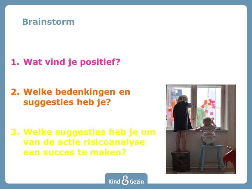 1.Wat vind je positief? 2.Welke bedenkingen en suggesties heb je? 3.Welke suggesties heb je om van de actie risicoanalyse een succes te maken? Brainst
