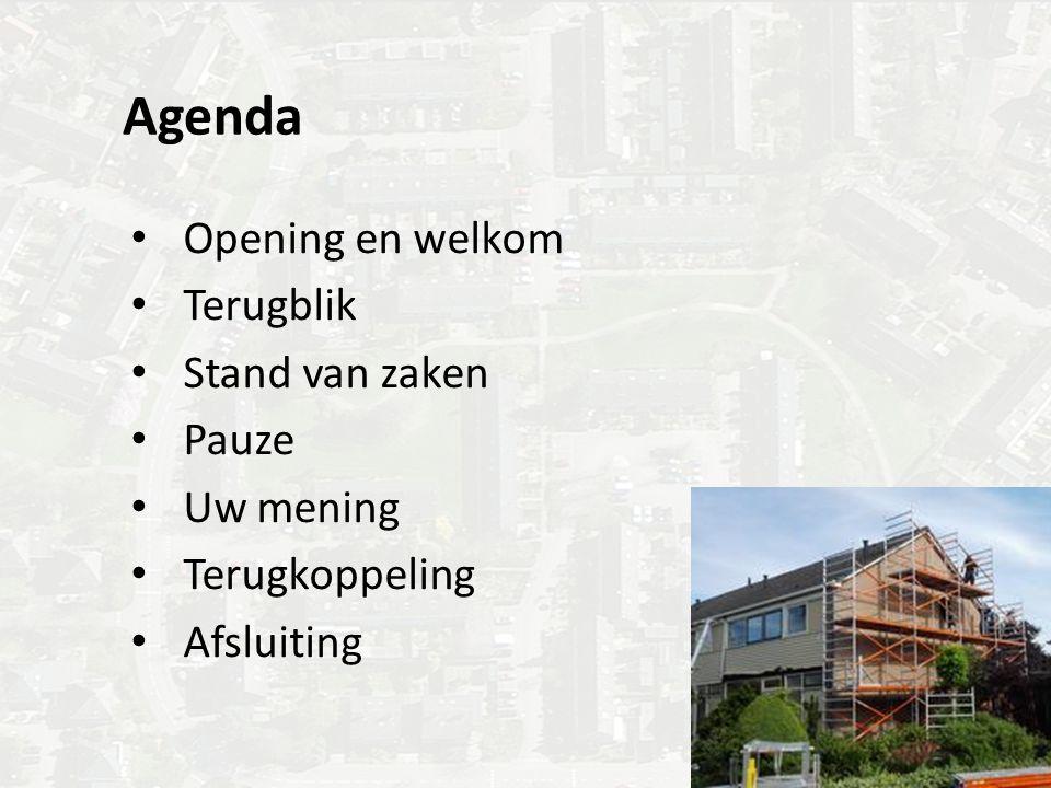 Agenda Opening en welkom Terugblik Stand van zaken Pauze Uw mening Terugkoppeling Afsluiting