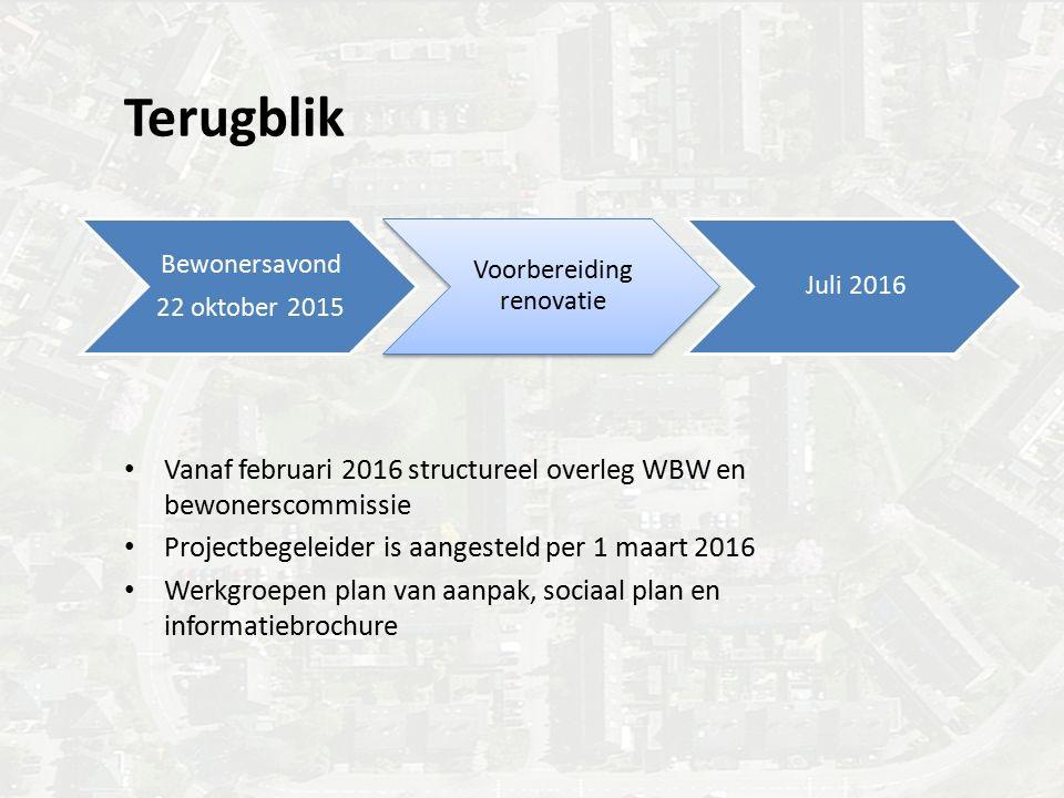 Terugblik Bewonersavond 22 oktober 2015 Voorbereiding renovatie Juli 2016 Vanaf februari 2016 structureel overleg WBW en bewonerscommissie Projectbege