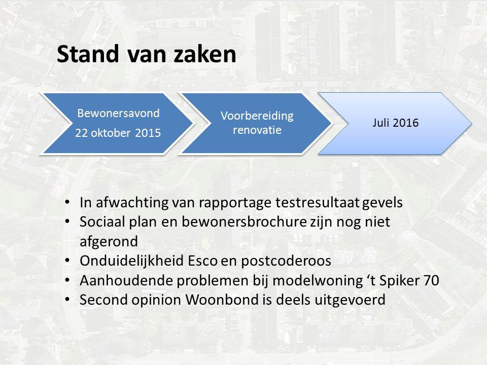 Stand van zaken Bewonersavond 22 oktober 2015 Voorbereiding renovatie Juli 2016 In afwachting van rapportage testresultaat gevels Sociaal plan en bewo