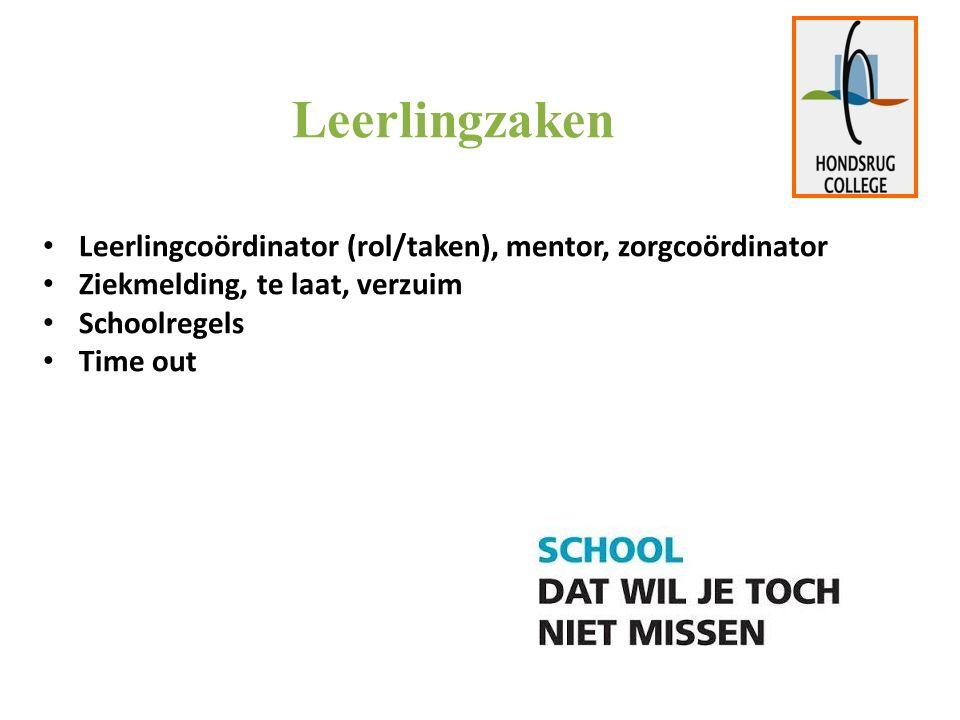 Leerlingzaken Leerlingcoördinator (rol/taken), mentor, zorgcoördinator Ziekmelding, te laat, verzuim Schoolregels Time out