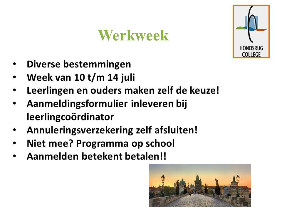 Werkweek Diverse bestemmingen Week van 10 t/m 14 juli Leerlingen en ouders maken zelf de keuze.