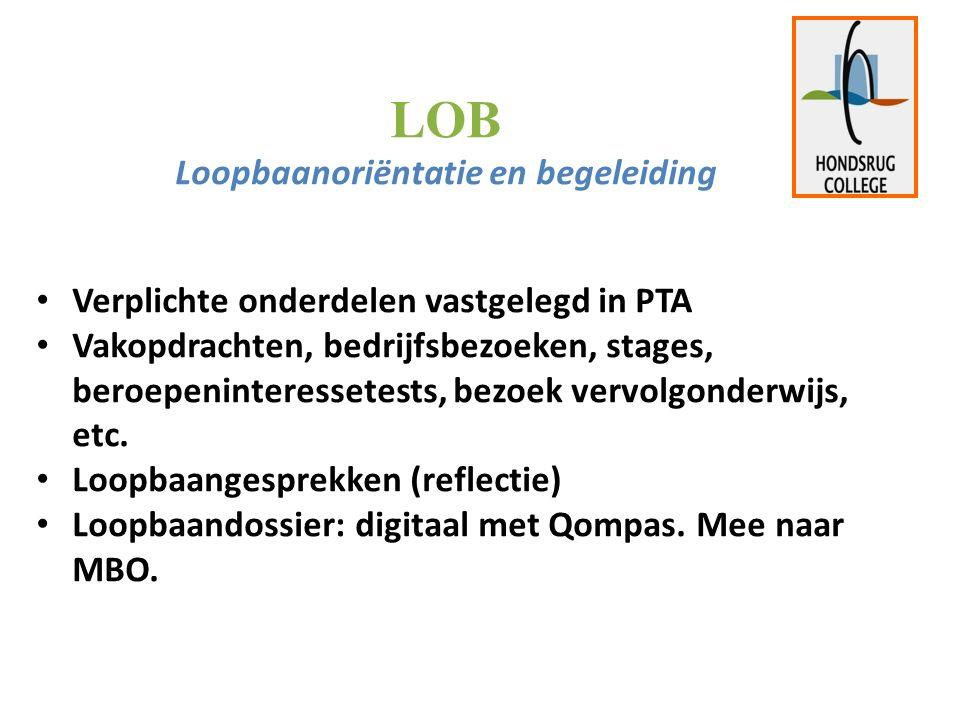LOB Loopbaanoriëntatie en begeleiding Verplichte onderdelen vastgelegd in PTA Vakopdrachten, bedrijfsbezoeken, stages, beroepeninteressetests, bezoek vervolgonderwijs, etc.