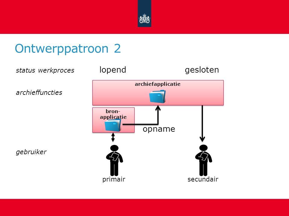 Ontwerppatroon 2 primair bron- applicatie lopend secundair gesloten archiefapplicatie opname status werkproces archieffuncties gebruiker