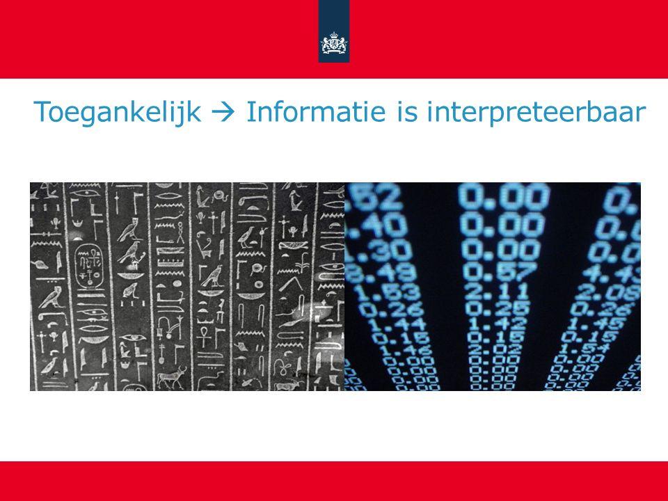 Toegankelijk  Informatie is interpreteerbaar