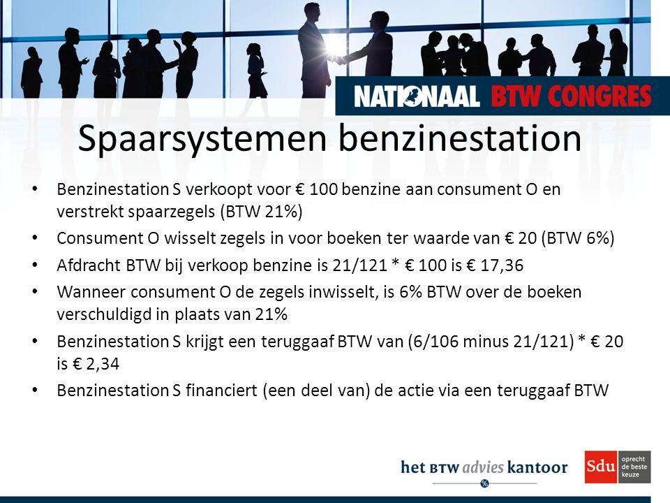 Spaarsystemen benzinestation Benzinestation S verkoopt voor € 100 benzine aan consument O en verstrekt spaarzegels (BTW 21%) Consument O wisselt zegel