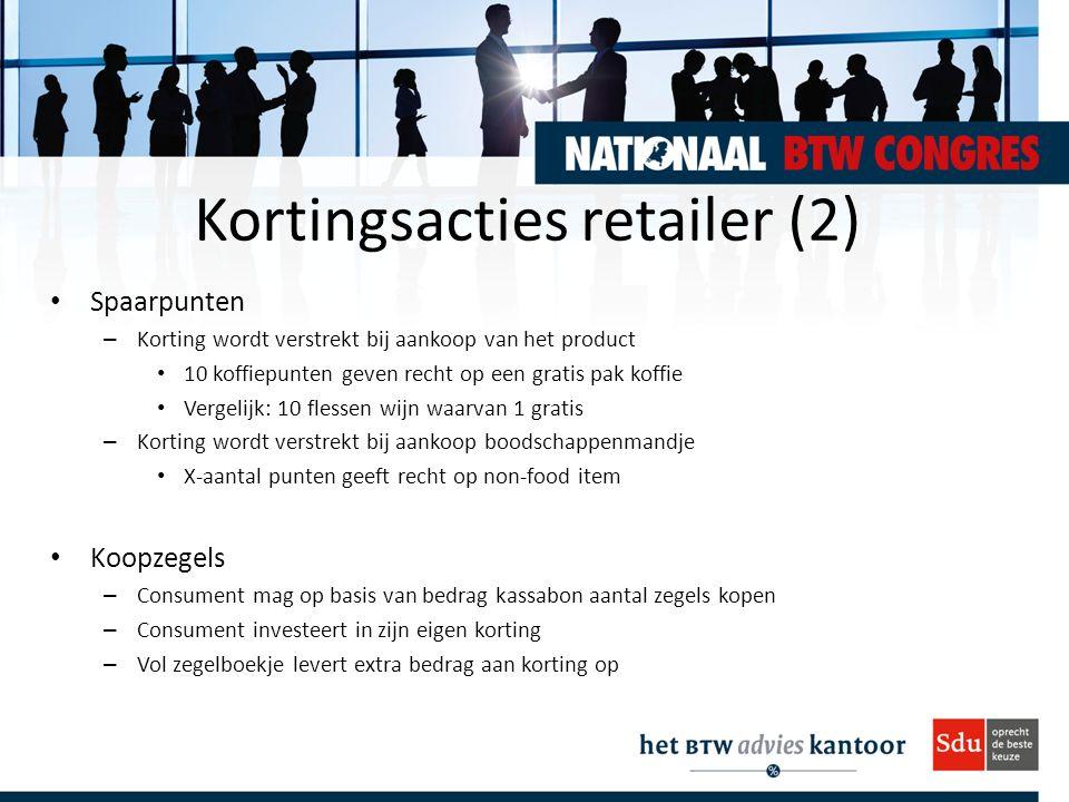 Kortingsacties retailer (2) Spaarpunten – Korting wordt verstrekt bij aankoop van het product 10 koffiepunten geven recht op een gratis pak koffie Ver