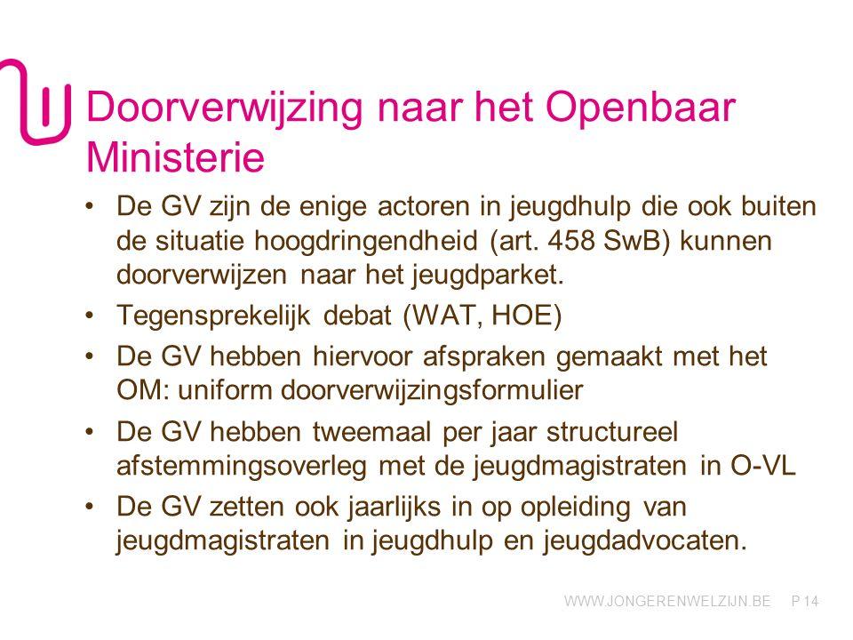 WWW.JONGERENWELZIJN.BE P Doorverwijzing naar het Openbaar Ministerie De GV zijn de enige actoren in jeugdhulp die ook buiten de situatie hoogdringendheid (art.