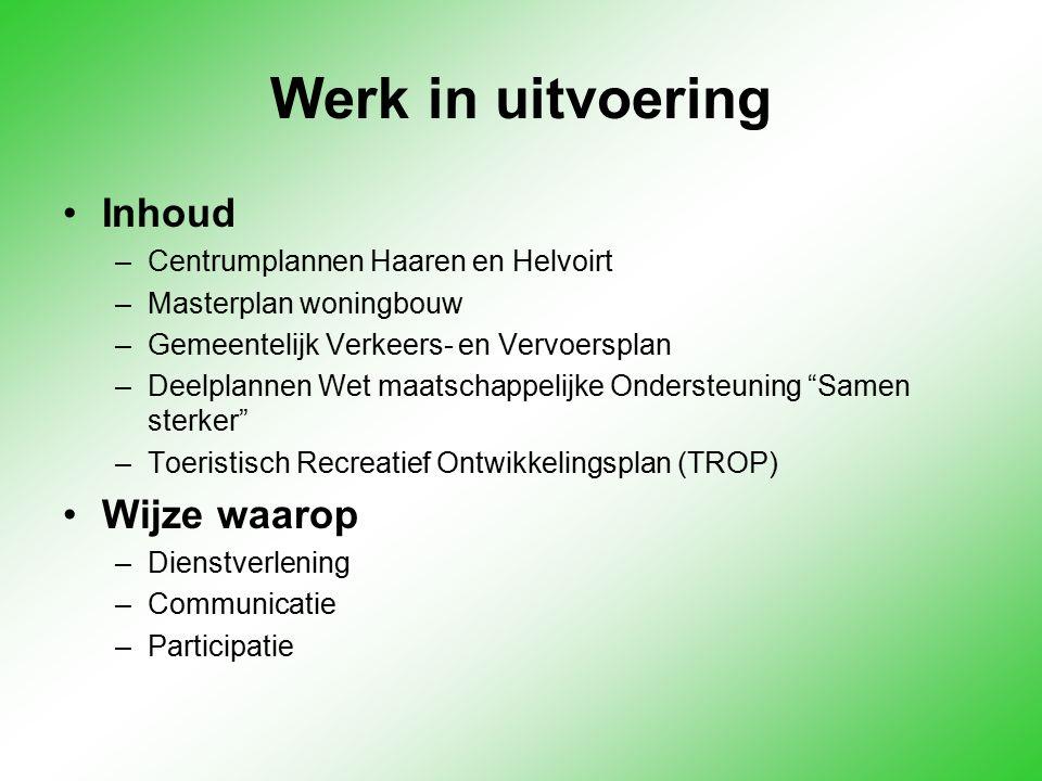 Werk in uitvoering Inhoud –Centrumplannen Haaren en Helvoirt –Masterplan woningbouw –Gemeentelijk Verkeers- en Vervoersplan –Deelplannen Wet maatschap