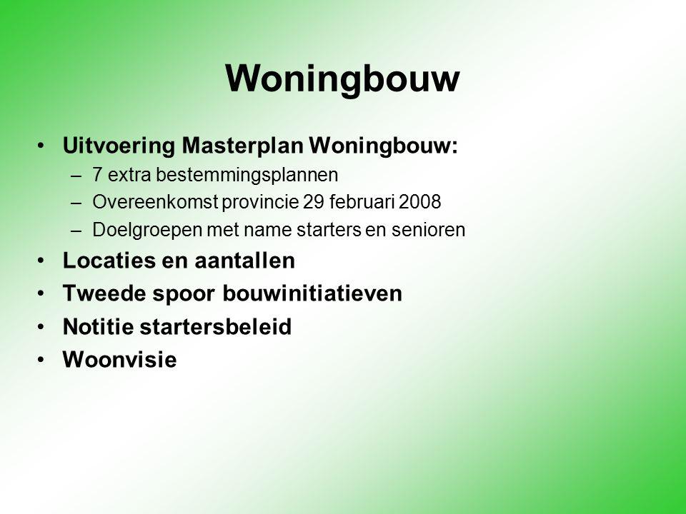 Woningbouw Uitvoering Masterplan Woningbouw: –7 extra bestemmingsplannen –Overeenkomst provincie 29 februari 2008 –Doelgroepen met name starters en se