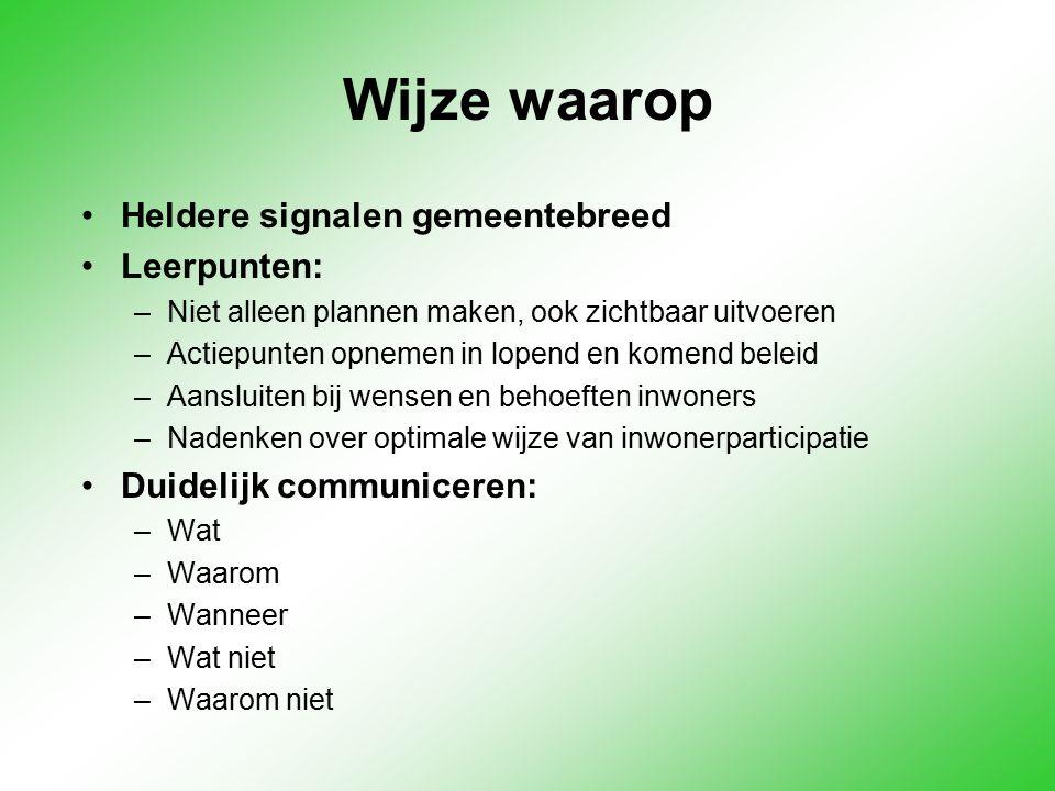 Wijze waarop Heldere signalen gemeentebreed Leerpunten: –Niet alleen plannen maken, ook zichtbaar uitvoeren –Actiepunten opnemen in lopend en komend b