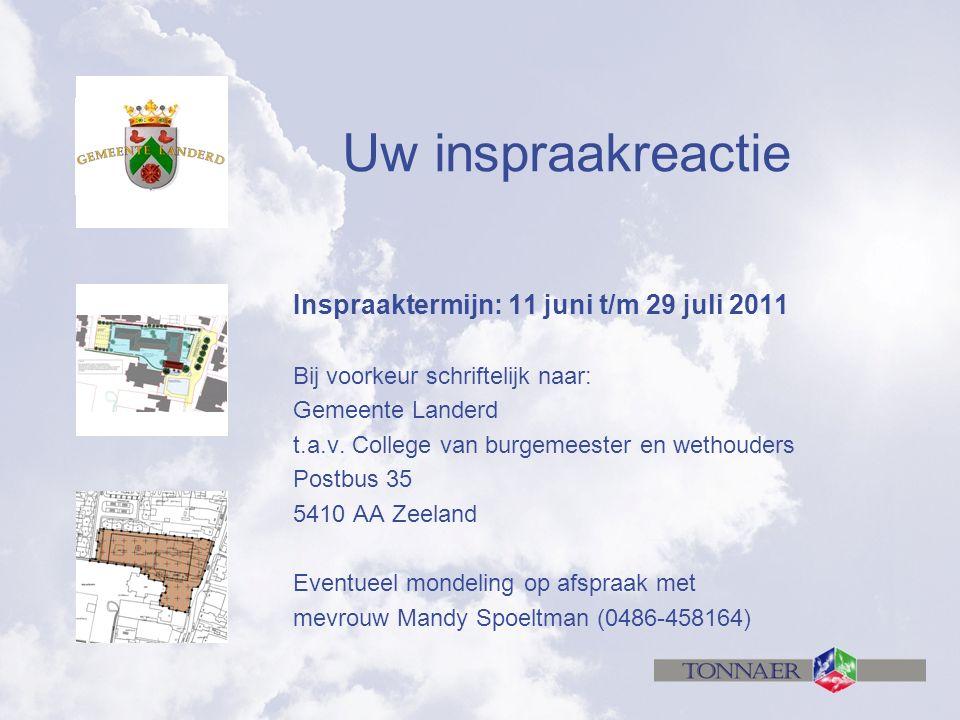 Uw inspraakreactie Inspraaktermijn: 11 juni t/m 29 juli 2011 Bij voorkeur schriftelijk naar: Gemeente Landerd t.a.v.