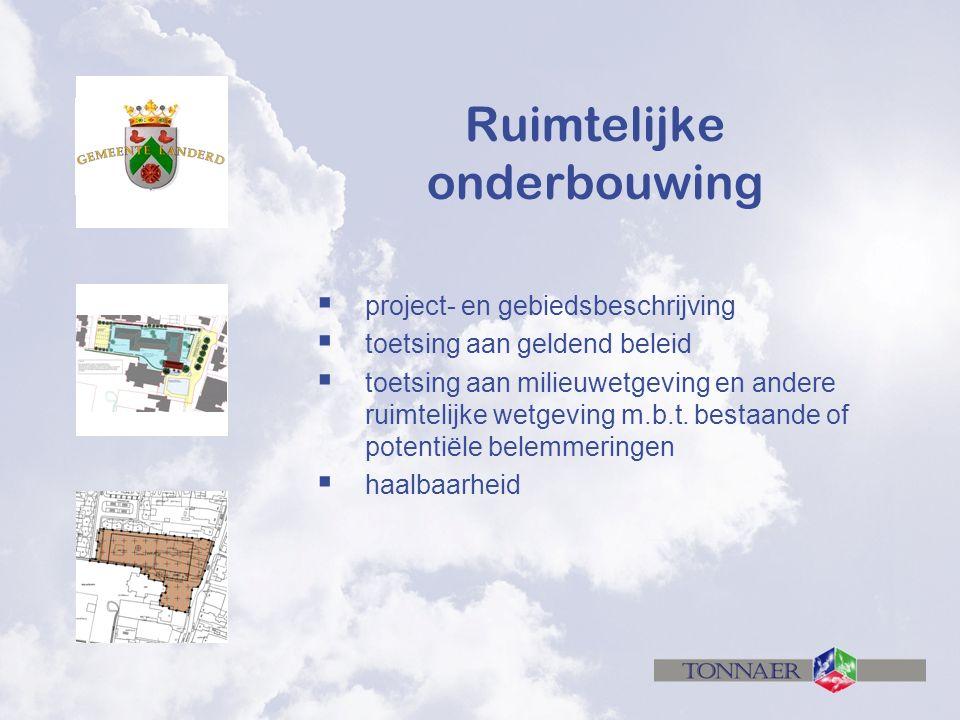 Ruimtelijke onderbouwing  project- en gebiedsbeschrijving  toetsing aan geldend beleid  toetsing aan milieuwetgeving en andere ruimtelijke wetgeving m.b.t.