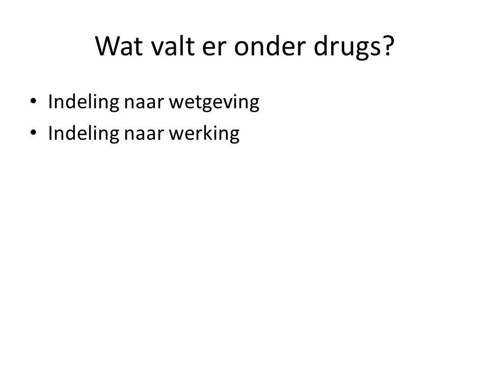 Wat valt er onder drugs? Indeling naar wetgeving Indeling naar werking
