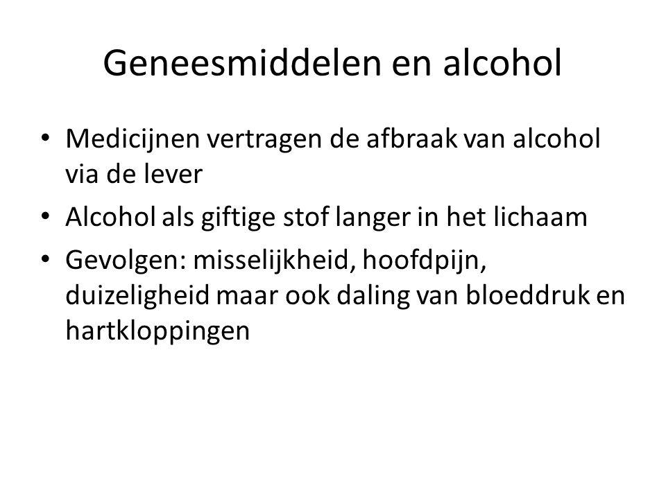 Geneesmiddelen en alcohol Medicijnen vertragen de afbraak van alcohol via de lever Alcohol als giftige stof langer in het lichaam Gevolgen: misselijkheid, hoofdpijn, duizeligheid maar ook daling van bloeddruk en hartkloppingen