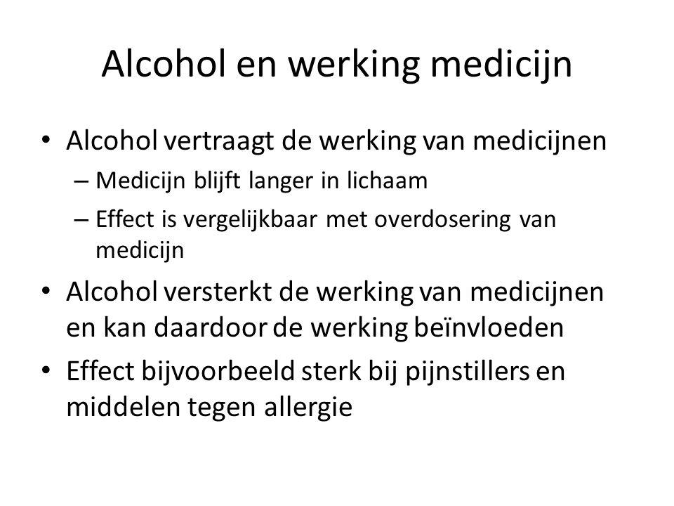 Alcohol en werking medicijn Alcohol vertraagt de werking van medicijnen – Medicijn blijft langer in lichaam – Effect is vergelijkbaar met overdosering