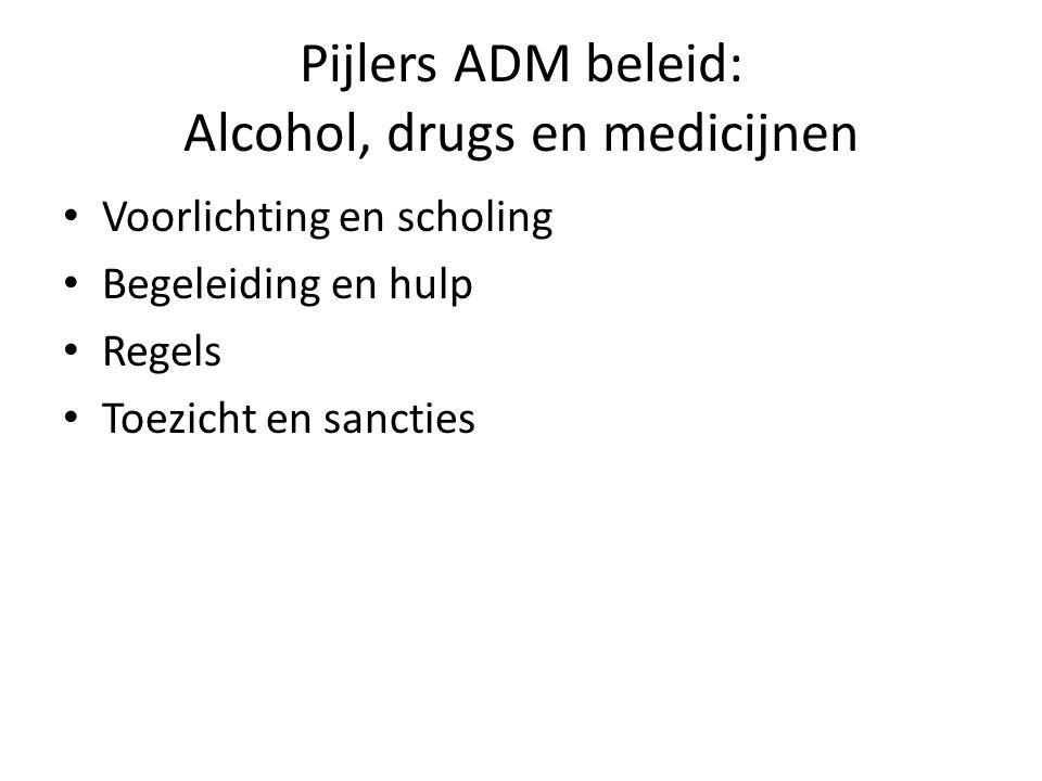 Pijlers ADM beleid: Alcohol, drugs en medicijnen Voorlichting en scholing Begeleiding en hulp Regels Toezicht en sancties