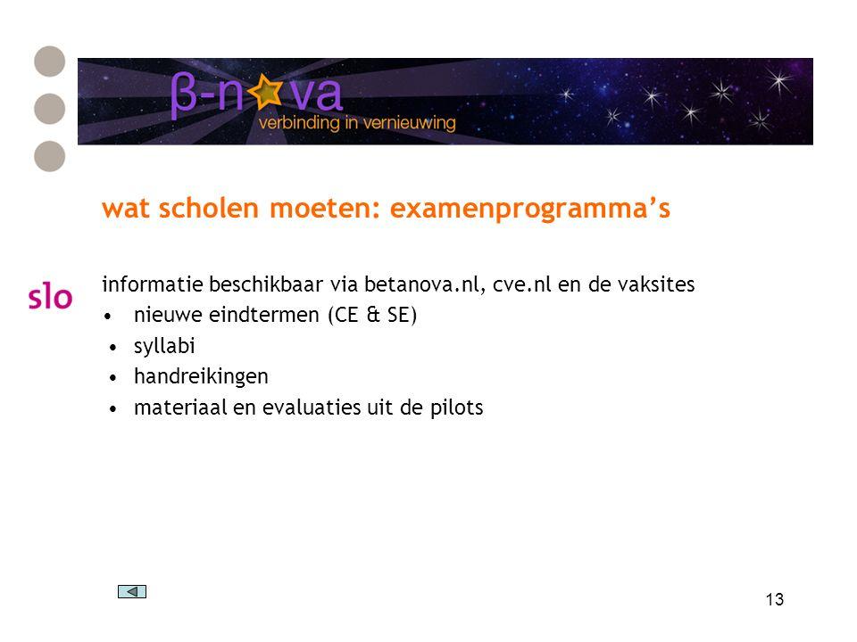 13 wat scholen moeten: examenprogramma's informatie beschikbaar via betanova.nl, cve.nl en de vaksites nieuwe eindtermen (CE & SE) syllabi handreikingen materiaal en evaluaties uit de pilots