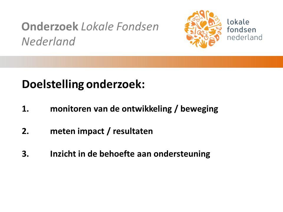 Onderzoek Lokale Fondsen Nederland Doelstelling onderzoek: 1.monitoren van de ontwikkeling / beweging 2.meten impact / resultaten 3.Inzicht in de behoefte aan ondersteuning