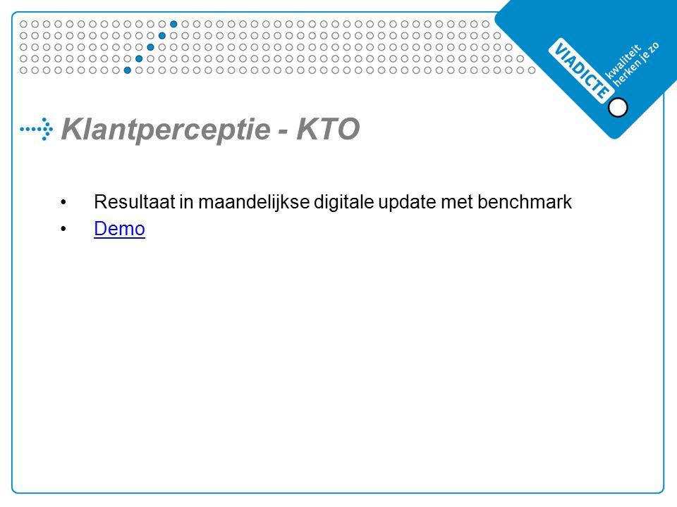 Klantperceptie - KTO Resultaat in maandelijkse digitale update met benchmark Demo