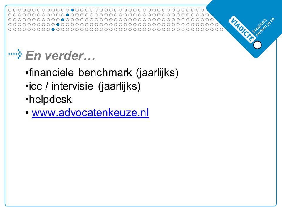 En verder… financiele benchmark (jaarlijks) icc / intervisie (jaarlijks) helpdesk www.advocatenkeuze.nl