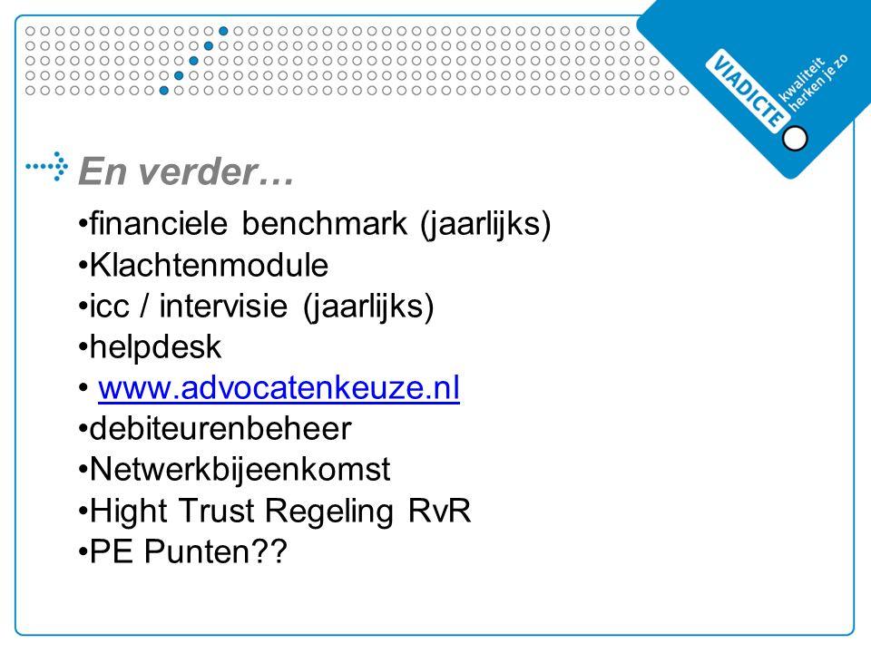 En verder… financiele benchmark (jaarlijks) Klachtenmodule icc / intervisie (jaarlijks) helpdesk www.advocatenkeuze.nl debiteurenbeheer Netwerkbijeenkomst Hight Trust Regeling RvR PE Punten