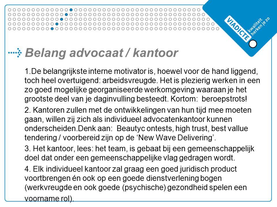Belang advocaat / kantoor 1.De belangrijkste interne motivator is, hoewel voor de hand liggend, toch heel overtuigend: arbeidsvreugde.