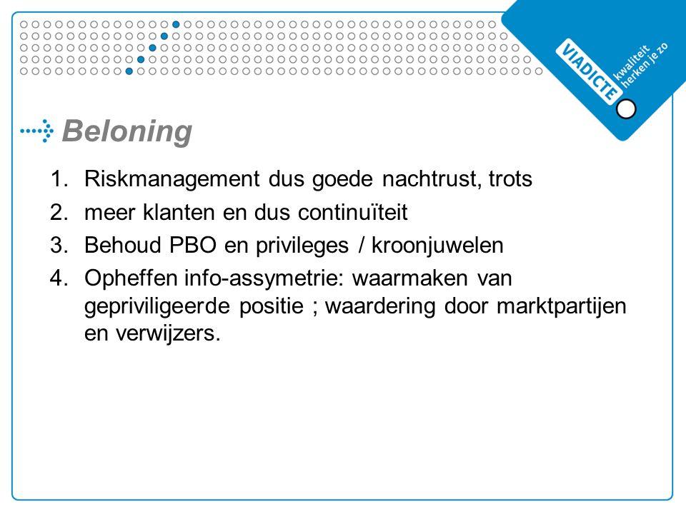 Beloning 1.Riskmanagement dus goede nachtrust, trots 2.meer klanten en dus continuïteit 3.Behoud PBO en privileges / kroonjuwelen 4.Opheffen info-assymetrie: waarmaken van gepriviligeerde positie ; waardering door marktpartijen en verwijzers.