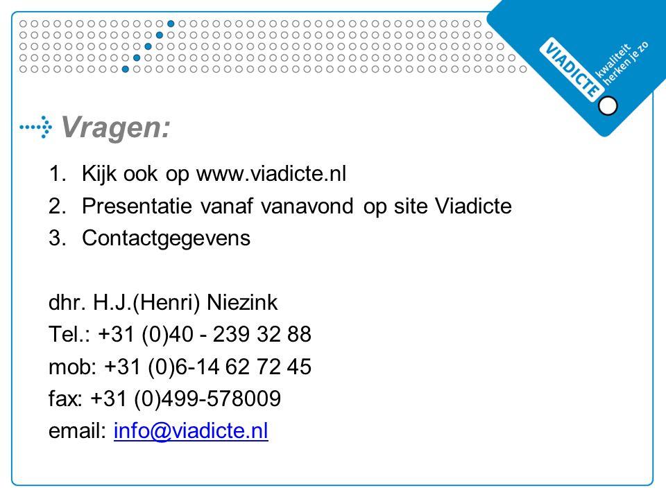 Vragen: 1.Kijk ook op www.viadicte.nl 2.Presentatie vanaf vanavond op site Viadicte 3.Contactgegevens dhr.