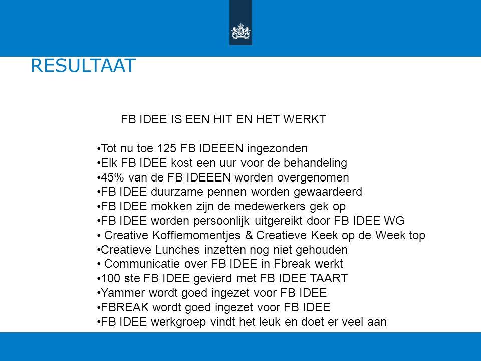 Verwachting 1 op 10 medewerkers dient idee in per jaar (bron landelijk ideeëncentrum Nederland) De verwacht is dus circa 25 suggesties met FB IDEE Beh