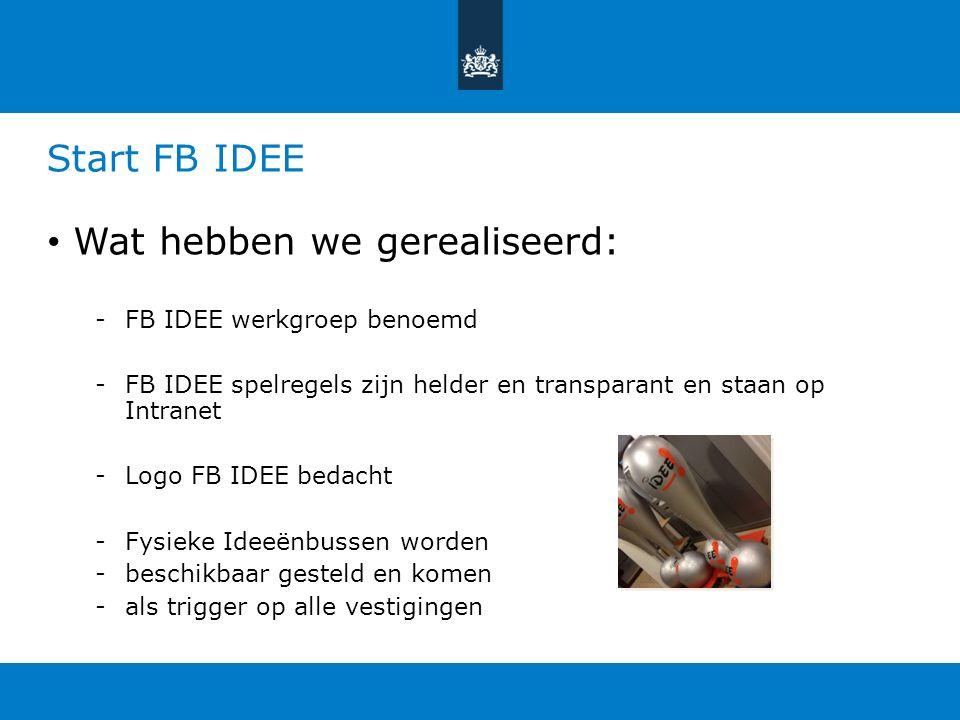 We stellen voor om te starten op 1-1-2014 Registratie FB IDEE in Planon zonder kosten FB IDEE werkgroep doet de administratie Aansluiten bij Bedrijfs Interne Milieuzorg (BIM) Ideeenmanagers uit elke vestiging Regelmatig Management Info opleveren Invoerdatum & Registratie