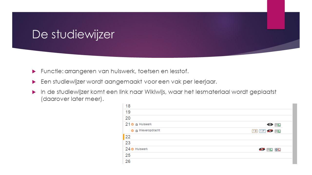 De studiewijzer  Functie: arrangeren van huiswerk, toetsen en lesstof.