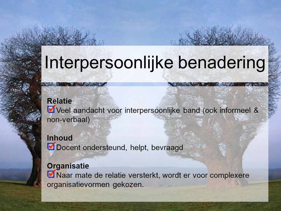Interpersoonlijke benadering Relatie Veel aandacht voor interpersoonlijke band (ook informeel & non-verbaal) Inhoud Docent ondersteund, helpt, bevraag