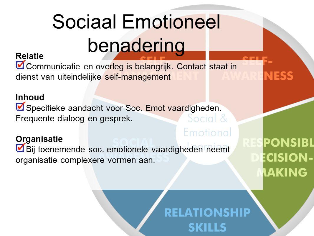 Sociaal Emotioneel benadering Relatie Communicatie en overleg is belangrijk. Contact staat in dienst van uiteindelijke self-management Inhoud Specifie