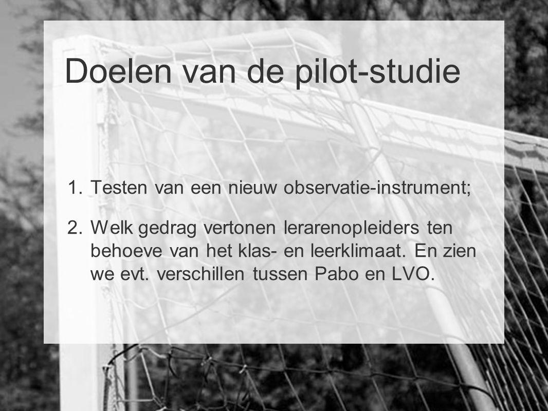 Doelen van de pilot-studie 1. Testen van een nieuw observatie-instrument; 2. Welk gedrag vertonen lerarenopleiders ten behoeve van het klas- en leerkl