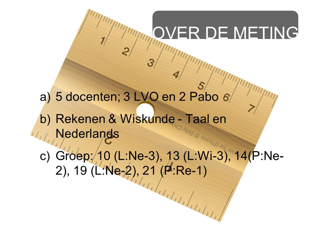 OVER DE METING a) 5 docenten; 3 LVO en 2 Pabo b) Rekenen & Wiskunde - Taal en Nederlands c) Groep: 10 (L:Ne-3), 13 (L:Wi-3), 14(P:Ne- 2), 19 (L:Ne-2),