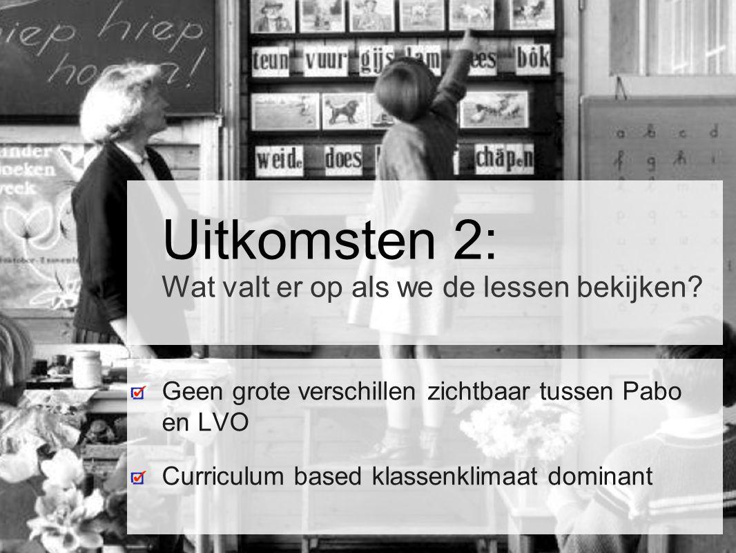 Uitkomsten 2: Wat valt er op als we de lessen bekijken? Geen grote verschillen zichtbaar tussen Pabo en LVO Curriculum based klassenklimaat dominant