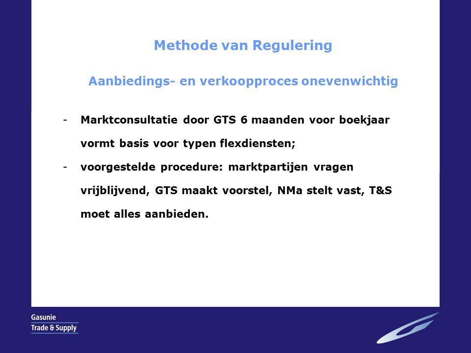 Methode van Regulering Aanbiedings- en verkoopproces onevenwichtig -Marktconsultatie door GTS 6 maanden voor boekjaar vormt basis voor typen flexdiensten; -voorgestelde procedure: marktpartijen vragen vrijblijvend, GTS maakt voorstel, NMa stelt vast, T&S moet alles aanbieden.