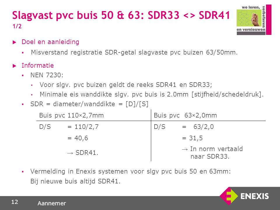 Aannemer Slagvast pvc buis 50 & 63: SDR33 <> SDR41 1/2 12  Doel en aanleiding  Misverstand registratie SDR-getal slagvaste pvc buizen 63/50mm.