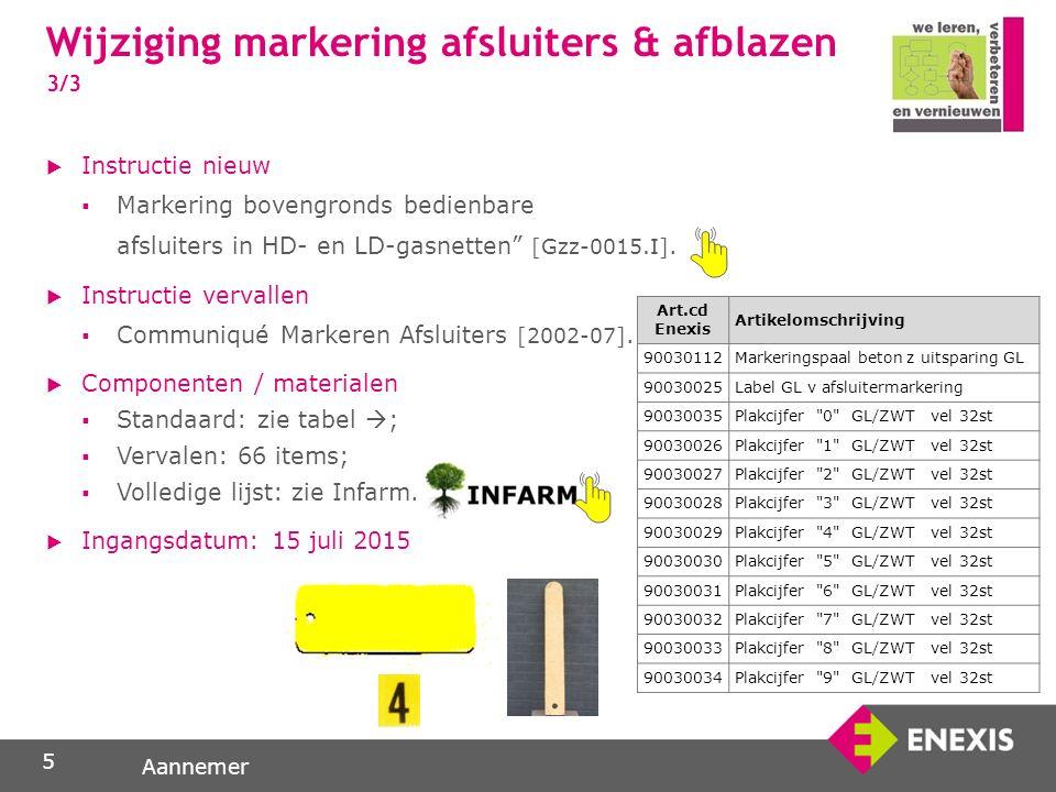 Aannemer  Instructie nieuw  Markering bovengronds bedienbare afsluiters in HD- en LD-gasnetten [Gzz-0015.I].