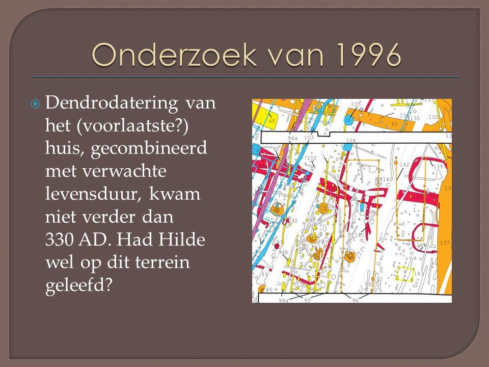  Dendrodatering van het (voorlaatste?) huis, gecombineerd met verwachte levensduur, kwam niet verder dan 330 AD.