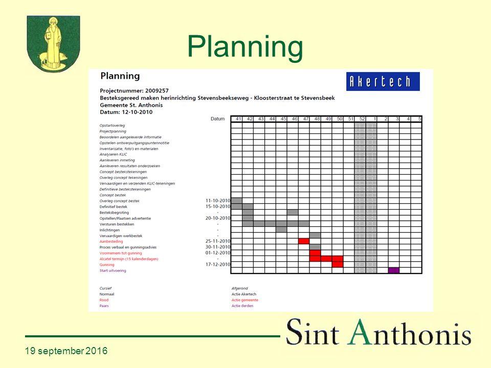 19 september 2016 Planning