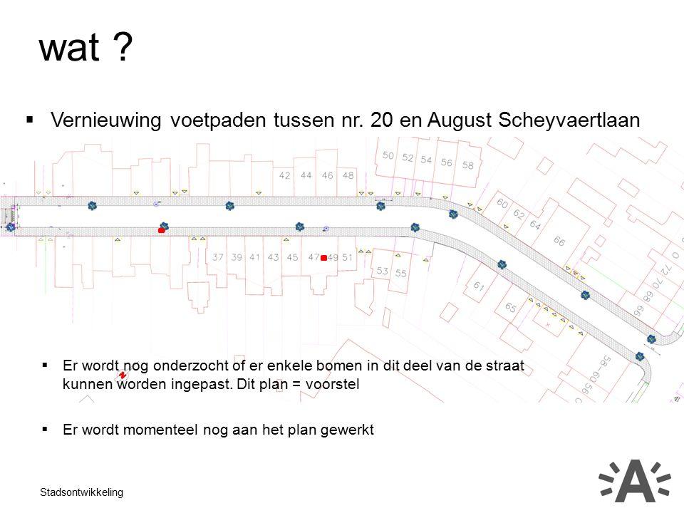 Stadsontwikkeling wat .  Vernieuwing voetpaden tussen nr.