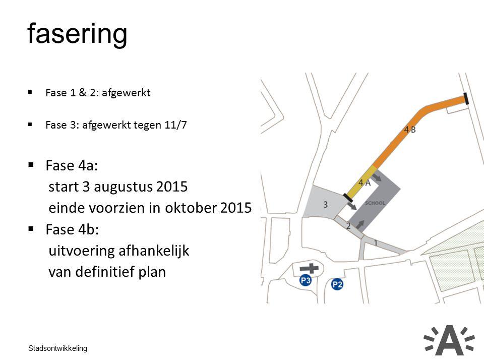 Stadsontwikkeling fasering  Fase 1 & 2: afgewerkt  Fase 3: afgewerkt tegen 11/7  Fase 4a: start 3 augustus 2015 einde voorzien in oktober 2015  Fase 4b: uitvoering afhankelijk van definitief plan