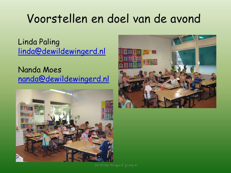 Voorstellen en doel van de avond De Wilde Wingerd groep 4 Linda Paling linda@dewildewingerd.nl Nanda Moes nanda@dewildewingerd.nl